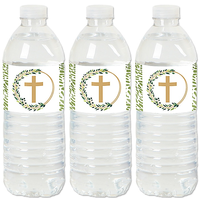 Elegant Cross - Religious Party Water Bottle Sticker Labels - Set of 20