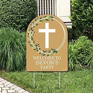 Elegant Cross - Party Decorations - Religious Party Personalized Welcome Yard Sign