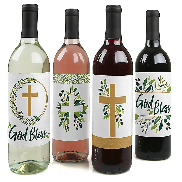Elegant Cross - Religious Party Decorations for Women and Men - Wine Bottle Label Stickers - Set of 4