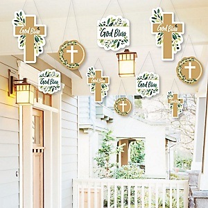 Hanging Elegant Cross - Outdoor Religious Party Hanging Porch and Tree Yard Decorations - 10 Pieces