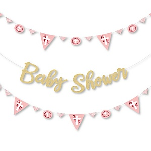 Pink Elegant Cross - Religious Girl Baby Shower Letter Banner Decoration - 36 Banner Cutouts and No-Mess Real Gold Glitter Baby Shower Banner Letters