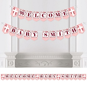 Pink Elegant Cross - Personalized Girl Religious Party Bunting Banner and Decorations