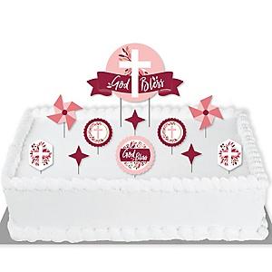 Pink Elegant Cross - Girl Religious Party Cake Decorating Kit - God Bless Cake Topper Set - 11 Pieces