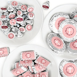 Pink Elegant Cross - Mini Candy Bar Wrappers, Round Candy Stickers and Circle Stickers - Girl Religious Party Candy Favor Sticker Kit - 304 Pieces
