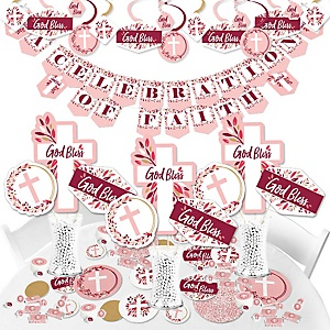 Pink Elegant Cross - Girl Religious Party Supplies - Banner Decoration Kit - Fundle Bundle