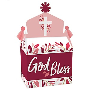 Pink Elegant Cross - Treat Box Party Favors - Girl Religious Party Goodie Gable Boxes - Set of 12