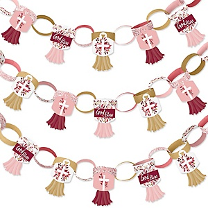 Pink Elegant Cross - 90 Chain Links and 30 Paper Tassels Decoration Kit - Girl Religious Party Paper Chains Garland - 21 feet