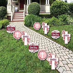 Pink Elegant Cross - Lawn Decorations - Outdoor Girl Religious Party Yard Decorations - 10 Piece