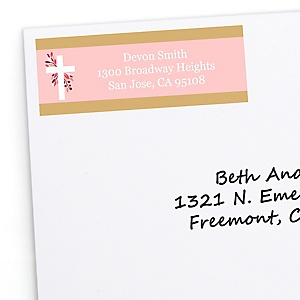 Pink Elegant Cross - Personalized Girl Religious Party Return Address Labels - 30 ct