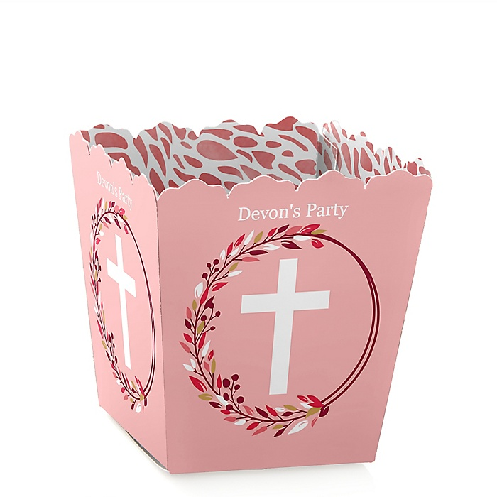 Pink Elegant Cross - Party Mini Favor Boxes - Personalized Girl Religious Party Treat Candy Boxes - Set of 12