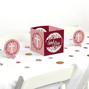 Pink Elegant Cross - Girl Religious Party Centerpiece and Table Decoration Kit