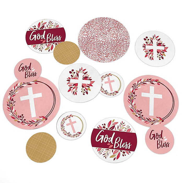 Pink Elegant Cross - Girl Religious Party Table Confetti - 27 ct