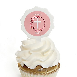 Pink Elegant Cross - 12 Cupcake Picks & 24 Personalized Stickers - Girl Religious Party Cupcake Toppers