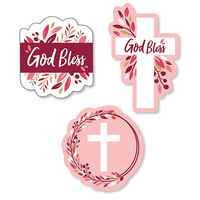 Pink Elegant Cross - DIY Shaped Girl Religious Party Cut-Outs - 24 ct