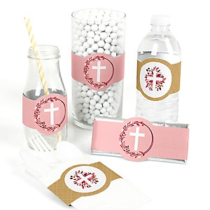 Pink Elegant Cross - DIY Party Supplies - Girl Religious Party DIY Party Favors & Decorations - Set of 15
