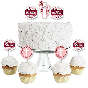 Pink Elegant Cross - Dessert Cupcake Toppers - Girl Religious Party Clear Treat Picks - Set of 24