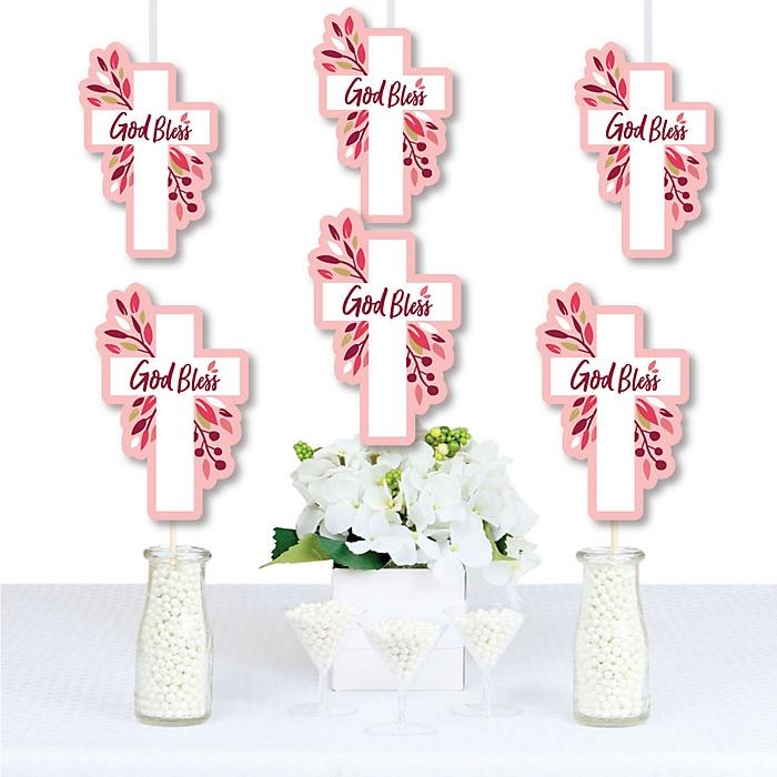 Pink Elegant Cross - Decorations DIY Girl Religious Party Essentials - Set of 20