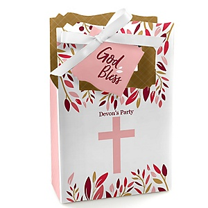 Pink Elegant Cross - Girl Religious Party Favor Boxes - Set of 12