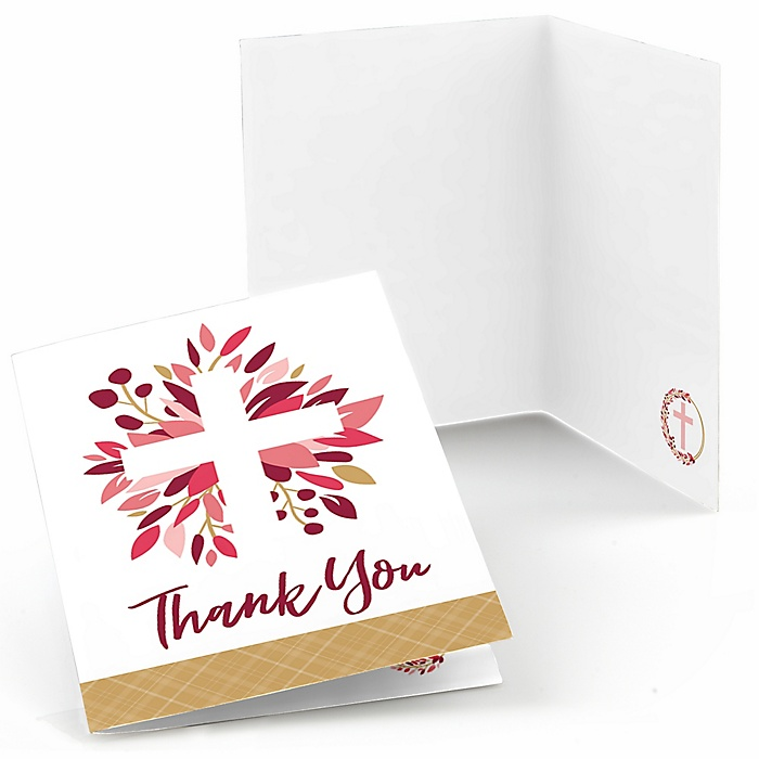 Pink Elegant Cross - Girl Religious Party Thank You Cards - 8 ct
