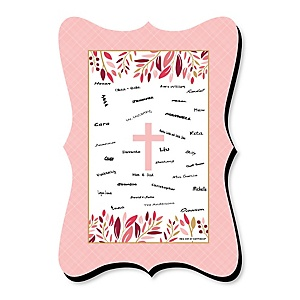 Pink Elegant Cross - Unique Alternative Guest Book - Girl Religious Party Signature Mat