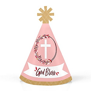 Pink Elegant Cross - Personalized Mini Cone Girl Religious Party Hats - Small Little Party Hats - Set of 10