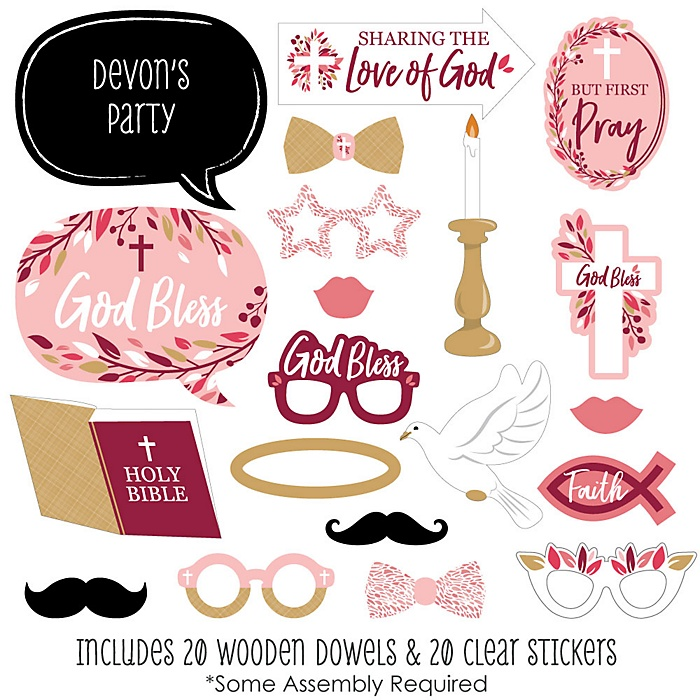 Pink Elegant Cross - 20 Piece Girl Religious Party Photo Booth Props Kit