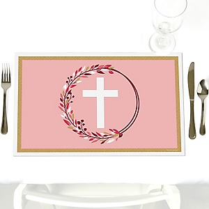 Pink Elegant Cross - Party Table Decorations - Girl Religious Party Placemats - Set of 12