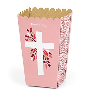 Pink Elegant Cross - Personalized Girl Religious Party Popcorn Favor Treat Boxes - Set of 12