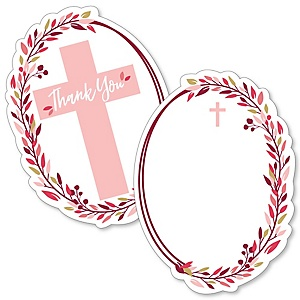 Pink Elegant Cross - Shaped Thank You Cards - Girl Religious Party Thank You Note Cards with Envelopes - Set of 12