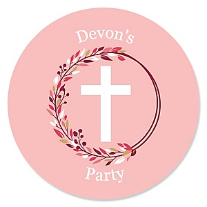 Pink Elegant Cross - Round Personalized Girl Religious Party Sticker Labels - 24 ct