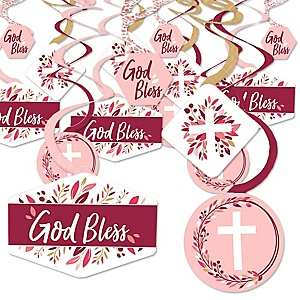 Pink Elegant Cross - Girl Religious Party Hanging Decor - Party Decoration Swirls - Set of 40