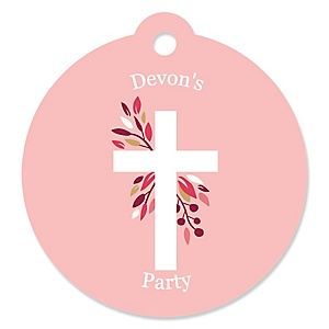 Pink Elegant Cross - Personalized Girl Religious Party Gift Tags - 20 ct