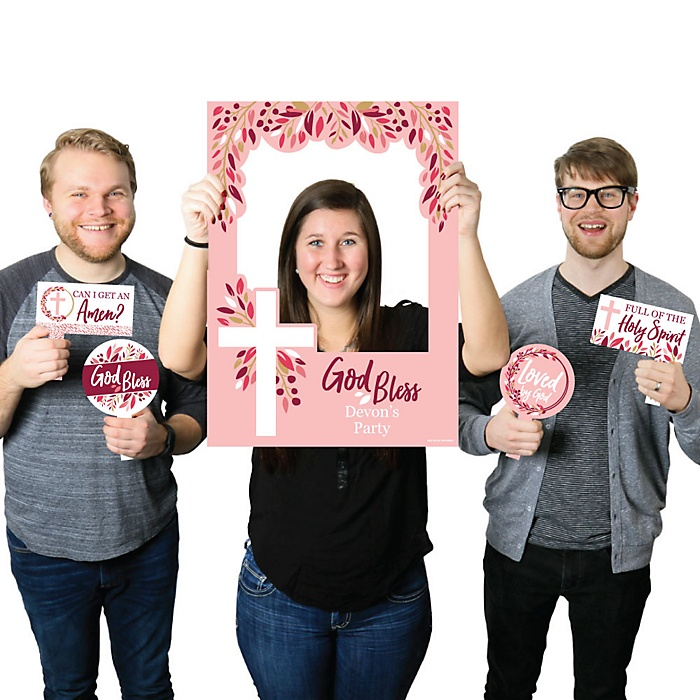 Pink Elegant Cross - Personalized Girl Religious Party Photo Booth Picture Frame and Props - Printed on Sturdy Material