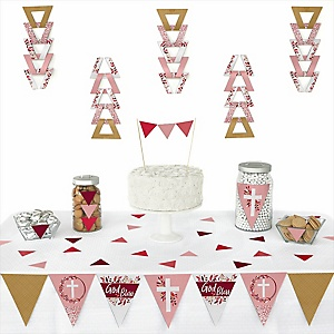 Pink Elegant Cross -  Triangle Girl Religious Party Decoration Kit - 72 Piece