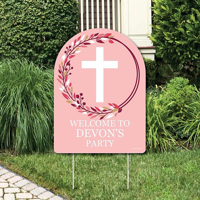 Pink Elegant Cross - Party Decorations - Girl Religious Party Personalized Welcome Yard Sign