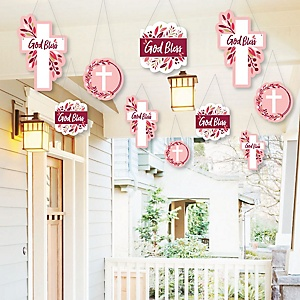 Hanging Pink Elegant Cross - Outdoor Girl Religious Party Hanging Porch and Tree Yard Decorations - 10 Pieces