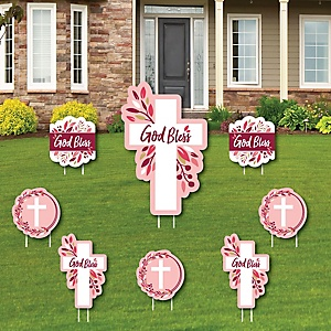 Pink Elegant Cross - Yard Sign and Outdoor Lawn Decorations - Girl Religious Party Yard Signs - Set of 8