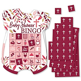Pink Elegant Cross - Picture Bingo Cards and Markers - Girl Religious Party Shaped Bingo Game - Set of 18