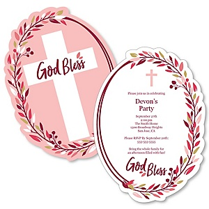 Pink Elegant Cross - Shaped Girl Religious Party Invitations - Set of 12