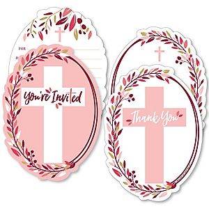 Pink Elegant Cross - 20 Shaped Fill-In Invitations and 20 Shaped Thank You Cards Kit - Girl Religious Party Stationery Kit - 40 Pack