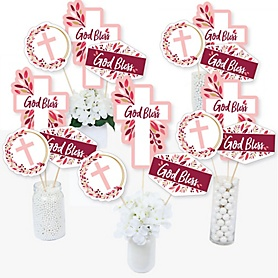 Pink Elegant Cross - Girl Religious Party Centerpiece Sticks - Table Toppers - Set of 15
