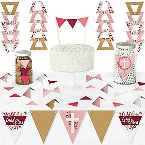 Pink Elegant Cross - DIY Pennant Banner Decorations - Girl Religious Party Triangle Kit - 99 Pieces