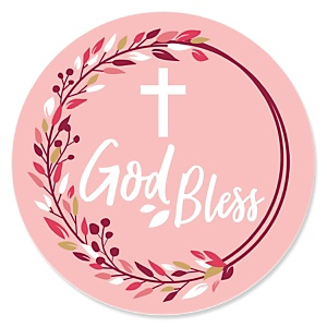 Pink Elegant Cross - Girl Religious Party Theme