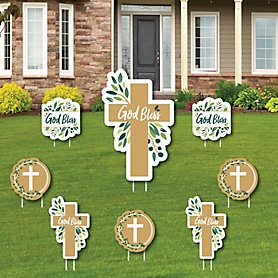 Elegant Cross - Yard Sign and Outdoor Lawn Decorations - Religious Party Yard Signs - Set of 8