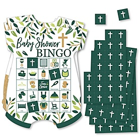 Elegant Cross - Picture Bingo Cards and Markers - Religious Party Shaped Bingo Game - Set of 18