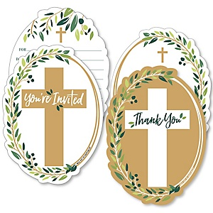 Elegant Cross - 20 Shaped Fill-In Invitations and 20 Shaped Thank You Cards Kit - Religious Party Stationery Kit - 40 Pack