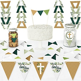 Elegant Cross - DIY Pennant Banner Decorations - Religious Party Triangle Kit - 99 Pieces