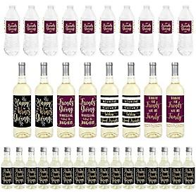 Elegant Thankful for Friends - Mini Wine Bottle Labels, Wine Bottle Labels and Water Bottle Labels - Friendsgiving Thanksgiving Party Decorations - Beverage Bar Kit - 34 Pieces