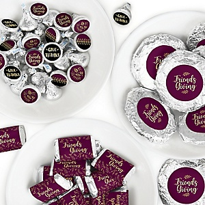 Elegant Thankful for Friends - Mini Candy Bar Wrappers, Round Candy Stickers and Circle Stickers - Friendsgiving Thanksgiving Party Candy Favor Sticker Kit - 304 Pieces