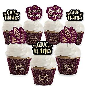 Elegant Thankful for Friends - Cupcake Decorations - Friendsgiving Thanksgiving Party Cupcake Wrappers and Treat Picks Kit - Set of 24